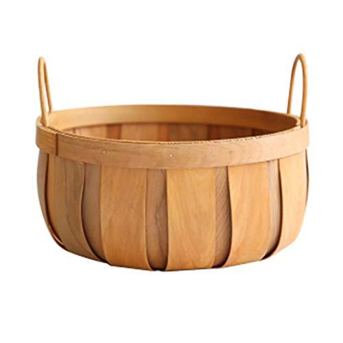 Sauce Pan stoffen mand voor de hand, grote inhoud, voor picknick, basketbal, houtspanten, mand van stof, rond, voor fruitmand, keuken, groenten, retro country