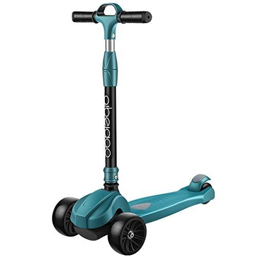 Dzwyc Scooter Scooter de evitación de colisiones para niños para niños Scooter, Altura Ajustable Plegable Magro para dirigir para niños niños y niñas de Patinetes (Color : Green)