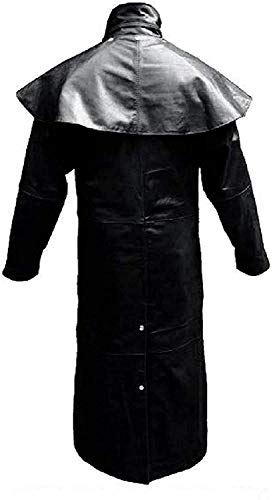 HiFacon Abrigo largo para hombre de cuero negro real para montar a caballo, caza, steampunk trinchera Matrix abrigos