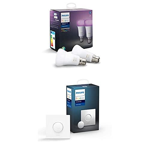 Philips Lighting Philips Hue Lampadina, Bianco, Dispositivo Certificato per gli umani + Smart Button Telecomando per Controllo delle Luci Hue, con Bluetooth