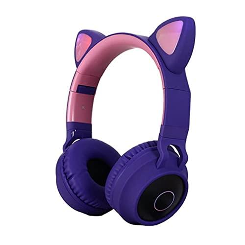 Headset LED Cat Headset.Bluetooth Headset über Ohr Gaming Kopfhörer LED Cat Ohr Headset RGB Licht Noise Canceling Headset Für Laptop Smartphone lila