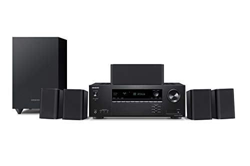 Onkyo HT-S3910(B) 5.1 sistema home cinema con ricevitore AV e altoparlante (155 W/canale, 4 K Ultra HD, Dolby Atmos, DTS:X-Playback, Bluetooth, Hi-Res Audio, Advanced Music Optimizer), Nero