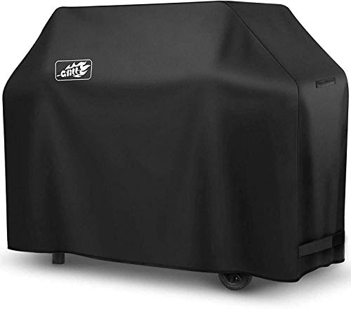 OMORC Barbecue Cover, Heavy Duty 58-Inch Dual Fuel BBQ Cover, Waterproof Outdoor Gas Grill Cover with PVC Coating, Fits Weber etc (Weather/Rip Proof)