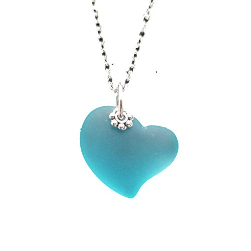 Handmade in Hawaii,'Heart of the Sea' Turquoise Bay Blue sea glass necklace,'December Birthstone', (Hawaii Gift Wrapped, Customizable Gift Message)