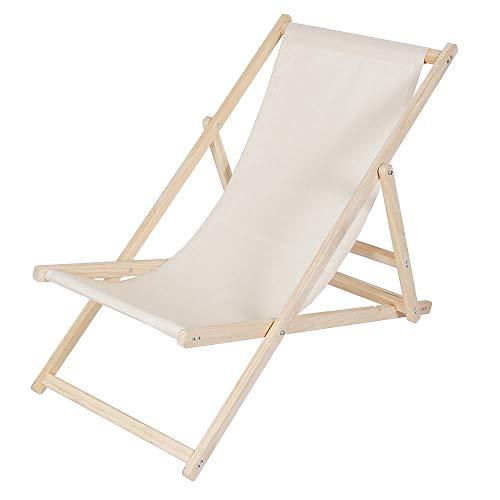 Melko Liegestuhl klappbar Strandstuhl aus Holz Gartenliege Relaxliege Sonnenliege Balkonstuhl Beige