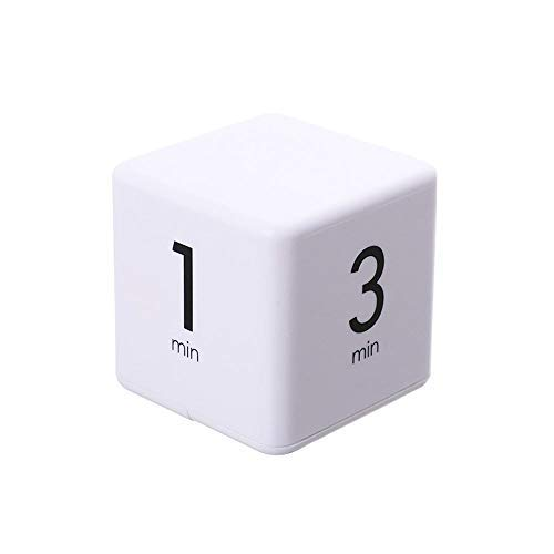 Cube Timer 1, 3, 5 and 10 Minutes for Time Management (White), Kitchen Timer, Kids Timer, Workout Timer, Meditation Timer, Study Timer