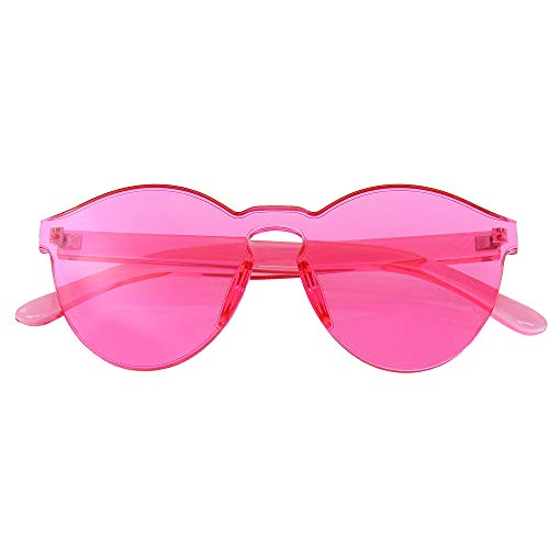 Emblem Eyewear - Womens rotonda trasparente Candy occhiali da sole da sole uomo lusso 8 colori (Rosa)