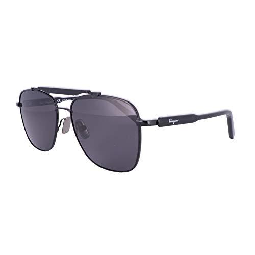 Ferragamo SF198S Sonnenbrille, Metall, Schwarz, Unisex, Erwachsene, mehrfarbig, Standard