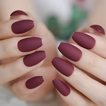 EDA LUXURY BEAUTY DARK RED BURGUNDY MATTE LUXE DESIGN Press On Nails Full Cover Acrylic Nail Kit Artificial Nail Tips False Nails Extra Long Ballerina Coffin Square Nail Art Fashion Fake Nails