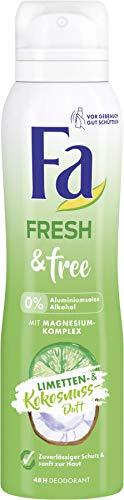 FA Deospray Fresh & Free Limetten- & Kokosnuss-Duft ohne Aluminium und Alkohol, 6er Pack (6 x 150 ml)