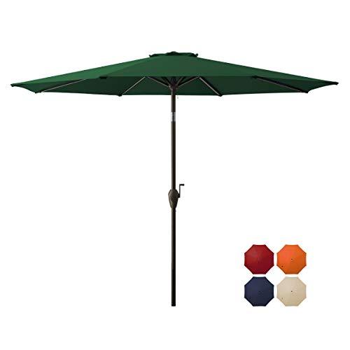 DOMICARE 9 ft Patio Umbrella,Table Umbrell Outdoor Market Umbrella with 8 Ribs, Easy Push Button Tilt and Crank - Dark Green
