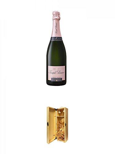 JOSEPH PERRIER - ROSE - Brut Champagner 0,75 Liter + 1a Whisky Holzbox für 1 Flasche mit Hakenverschluss