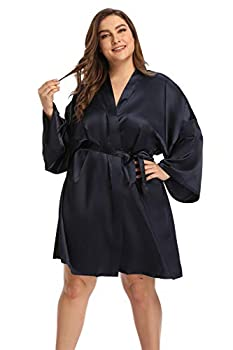 Women s Plus Size Satin Robes Short Silky Bathrobes Bridesmaid Party Dressing Gown,Navy,4X
