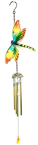 Bejeweled Display Dragonfly w/Glass Wind Chime & Home Decor