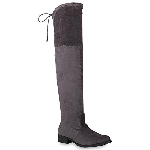 Damen Schuhe Stiefel Overknees Metallic Schleifen Wildleder-Optik 146323 Grau Metallic Autol 36 Flandell