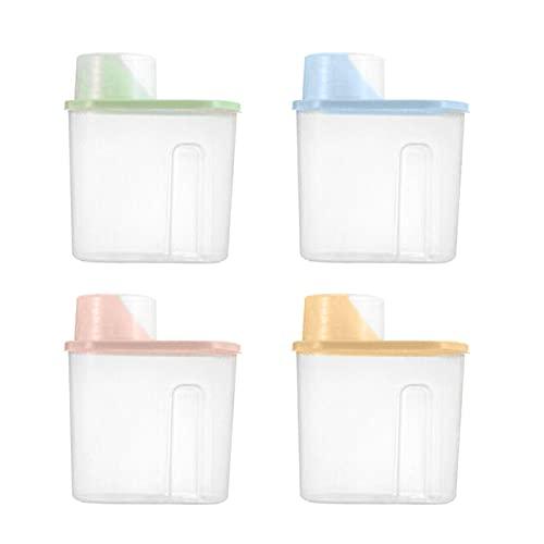 4 unids/set 1.9l Caja de almacenamiento de contenedores de alimentos Rice Bean Almacenado Contenedor de almacenamiento Transparente Fuga Almacenamiento Botella de almacenamiento Organizador de cocin