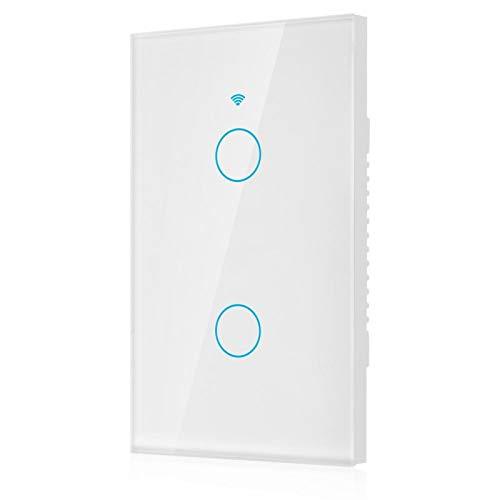 Cosiki Interruptor de Pantalla táctil, Interruptores WiFi Interruptor Inteligente, Interruptor de Pared WiFi para Control de Luces Productos(White, U.S. regulations)