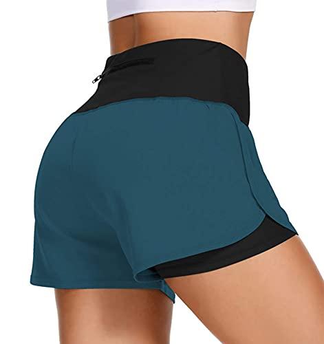 uideazone Pantalones cortos de deporte para mujer, 2 en 1, dos capas, pantalones cortos de deporte, fitness, yoga, pantalones cortos con bolsillos, tallas S-XL azul XL