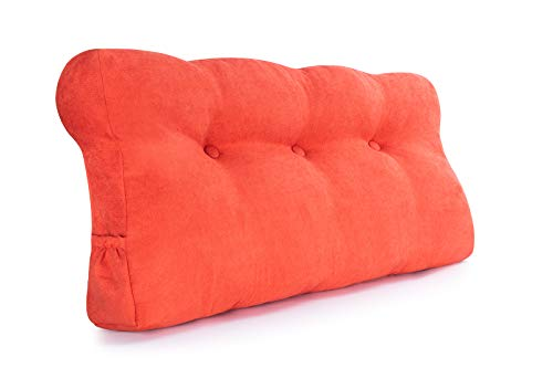Vekkia Removable Large Triangular Headboards for Twin Beds, Wedge Daybed Pillow, Perfect Positioning Support Back, Head, Waist. Can be Placed on Sofa, Double Bed, Dormitory or Room Decoration. Orange