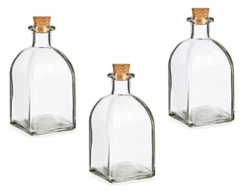 Glass Homemade Liqueur Preserve Sloe Gin Storage Bottle with Cork Stopper (Set of 3, 250ml)