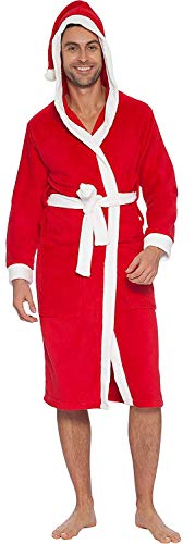 INTIMO Men's Hooded Family Pajama Santa Robe, Red/White, Size L/XL