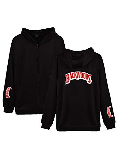 FITtrame Backwoods Fashion Cigar Hoodies Casual Zipper Sweater Sweatshirt for Man Women 3D Print with Pockets (A-Black,S)