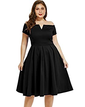 LALAGEN Women s Plus Size Vintage 1950s Party Cocktail Wedding Swing Midi Dress Black XXXL