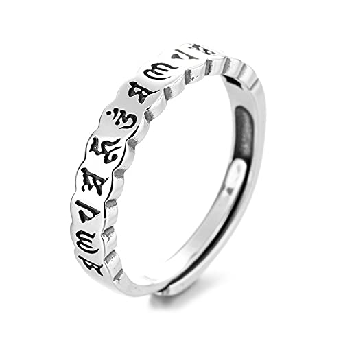 awaFanee S925 Sterling Silver Open Rings Beauty Retro Sanskrit Finger Joint Toe Ring Party Wedding Jewelry Gifts Women Girls Adjustable Size 5-10 Clearance