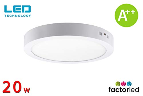 FactorLED ¡NOVEDAD! Downlight Panel Superficie LED Circular 20W, Plafón redondo para techo y pared, Placa interior, (3000K-4000K-6000K), [Clase de eficiencia energética A++] (Luz Blanca (6000K))