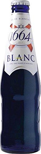 12 Flaschen Kronenbourg 1664 Blanc Weißbier mit Citrus 5% Alc. aus Frankreich in der blauen Flasche