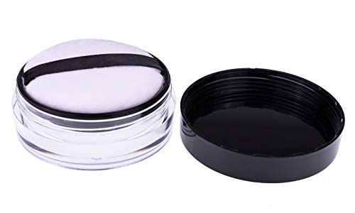 AKOAK Capacity 10 ml(0.33 oz) No Leaks Empty Reusable Plastic Loose Powder Compact Container DIY Makeup Powder Case with Sponge Powder Puff,Elasticated Net Sifter and Threaded Screw Lid
