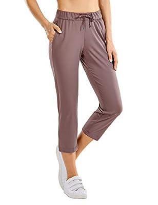 CRZ YOGA Women's Stretch Capri Pants Travel Mid Rise Drawstring Joggers Casual Jogging Lounge Pants Crop with Pockets Mauve Medium