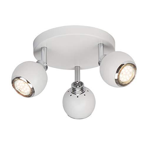 Brilliant Ina LED Spotrondell 3 flg Deckenstrahler schwenkbar weiß/chrom 750 Lumen, 3x GU10 3W LED-Reflektorlampen inklusive