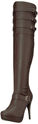 Pleaser Pink Label Women's Chloe308/Bnpu Boot, Brown Faux Leather, 13 M US