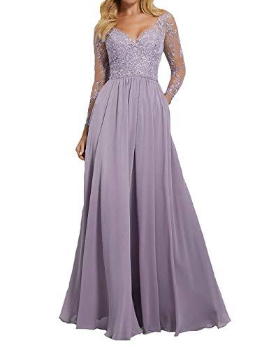 JAEDEN Ballkleider Abendkleider mit Langen Ärmel Hochzeitskleider Lang Chiffon Spitze V-Ausschnitt Lavendel EUR48