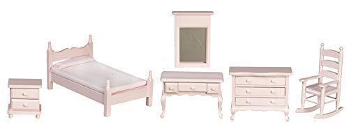 Melody Jane Casa de Muñecas Rosa Madera Individual Dormitorio Conjunto de Muebles Miniatura con Silla Mecedora