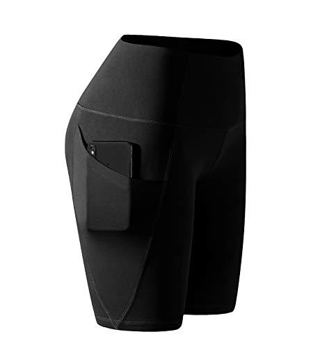 LAPASA Damen Kurz Leggings Sport Yoga Pants High Wasit mit Tasche MEHRWEG L002 (Schwarz(Super Opak), XL)