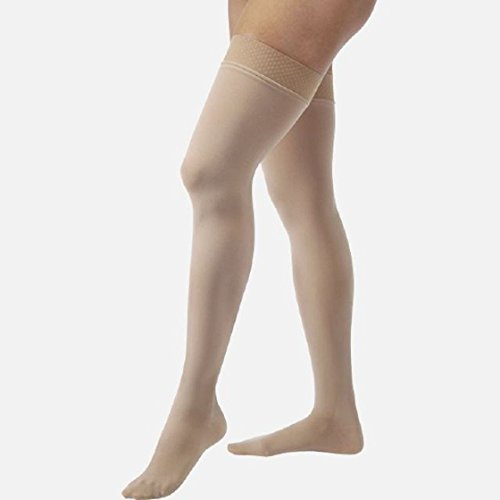 JOBST Relief Thigh High 15-20 mmHg Compression Stockings, Closed Toe with Silicone Dot Band, Large, Beige