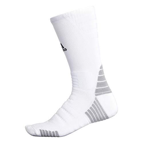 adidas Calcetines Unisex Alphaskin con Acolchado máximo, Unisex, Crew Sock-Team, 976224, Blanco/Negro/Onix Claro, Medium