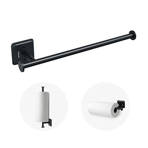 Paper Towel Holder Wall Mount Kitchen Paper Towel Rolls Dispenser Rack Cabinet Mount Holds Family Rolls-Black