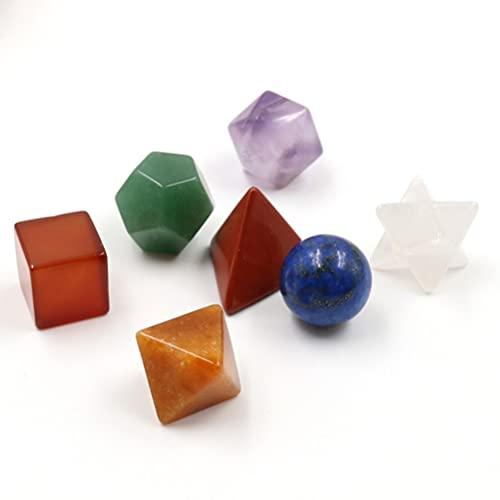 BESPORTBLE Platônico Sólidos Sagrada Geometria Pedra Esculpido Chakra Merkaba Pedra de Cristal 7 Pcs