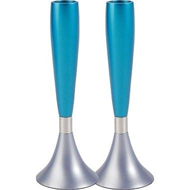 Turquoise and Silver Anodize Aluminum Shabbat Candlesticks