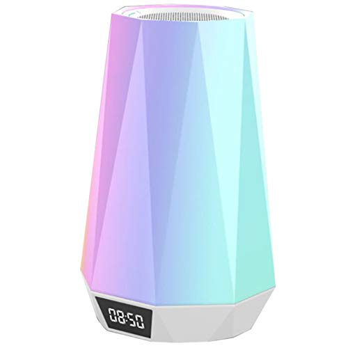 LED Bunt Lichtwecker, Multifunktional Intelligent Bluetooth-Lautsprecher Spezial Stimmungsbeleuchtung Uhr, Nachttischlampe Wake Up Licht Tischuhr
