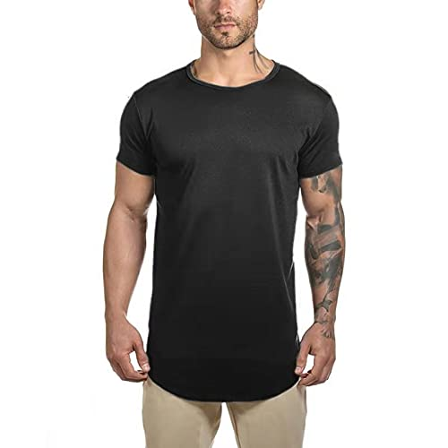 Mens Longline Gym Muscle Bodybuilding Tshirts Hipster Reflective Line Scallop Crewneck Tees Shirts Tops (M, Black with Reflective)