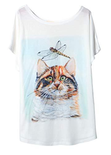 Luna et Margarita T-Shirt Femme Blanche Manche Chauve-Souris Col Rond Coton Mélange à Motif...