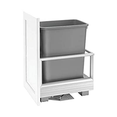 Rev-A-Shelf 5149-15DM18-117 18 x 12.25 x 20 Inch Single 35 Quart Pull Out Kitchen Cabinet Waste Container Storage with Trash Can, Wire Basket, and Rev-A-Motion, Gray from Rev-A-Shelf