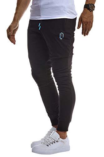 Leif Nelson Herren Trainingshose Sporthose Slim Fit Männer Fitnesshose Jogginghose Lange Fitness-Hose für Sport Training Bodybuilding Jungen Sweatpants Jogging LN8298; S; Schwarz-Türkis