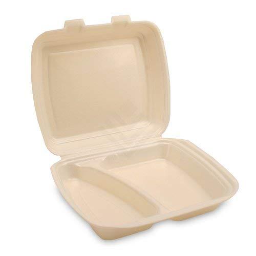JG-Verpackungen 250 Menüboxen, 2-geteilt Weiss, beige 240x200x69mm, HP4/2 Imbissboxen, Menübox, Lunchbox, Außerhausbox