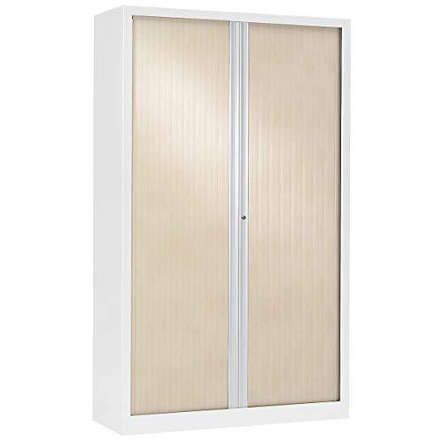 Armoire Monobloc à rideaux | Blanc | Erable | HxLxP 1980 x 1200 x 430 | Certeo