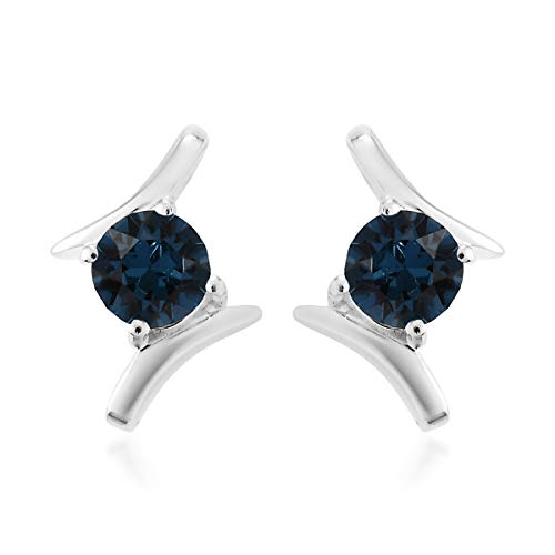 J Francis Stud Earrings Made with Swarovski Blue Crystal for Women in 925 Sterling Silver Christmas/New Year Gift for Her, TCW 20ct